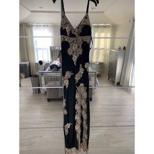 Cache Lack/Gold Lace Dress